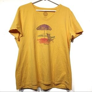 "Life is Good mustard yellow ""Unplug"" tee shirt XL"